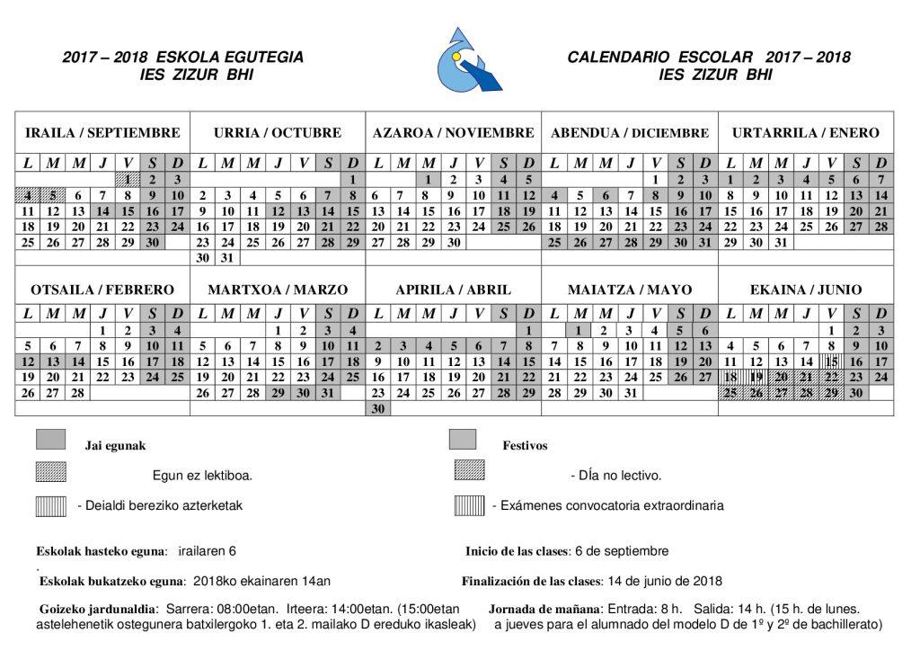Calendario 2017-2018 Egutegia